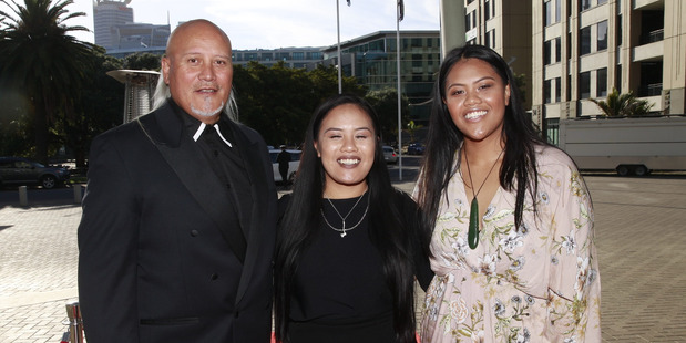 The Hawk family arrive at the awards at Vector Arena. Photo /Nick Reed
