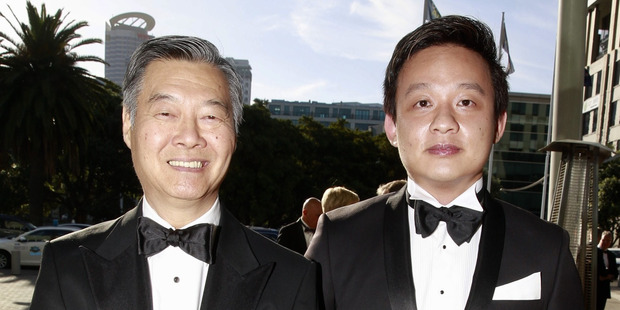 Danny Chan (left) and Steven Song arrive at the awards at Vector Arena.  Photo / Nick Reed