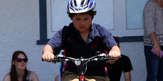 """Gabor Markovits reckoned he """"nailed it"""" in the practical skills test at the Annual Young Cyclist of the Year in Whanganui yesterday. Wanganui Chronicle Photograph by Stuart Munro."""