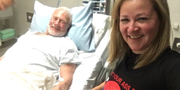 Buzz Aldrin is evacuated from Antarctica and arrives safely in Christchurch for medical treatment with his manager Christina Korp.