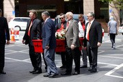 Ray Columbus' casket is carried into St Patricks Cathedral. Photo / Dean Purcell