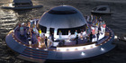 Could this UFO-shaped house boat be the home of the future if sea levels continue to rise? Photo / Pierpaolo Lazzarini /Media Drum World/Caters News