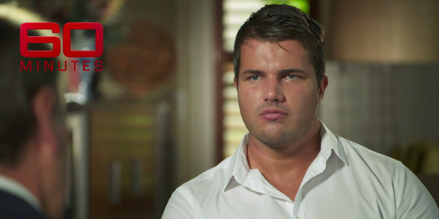 Gable Tostee in his exclusive interview on 60 Minutes screened on Australian television. Photo / 60 Minutes