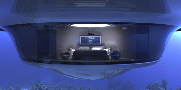 The bedroom on the lowest floor has a view of the seabed. Photo / Pierpaolo Lazzarini /Media Drum World/Caters News