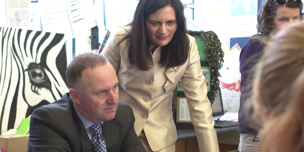 Prime Minister John Key and Mt Roskill by-election hopeful Parmjeet Parmar visit the Waikowhai Intermediate School in Mt Roskill. Photo / NZME