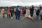 Solid Energy'chief executive Tony King met Pike River families today to discuss the company's plans to permanently seal the mine. Above, protesters outside the mine this week. Photo / Greymouth Star