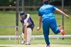 Central Indians' co-captain Andrew Gibbs bowls out Te Puke's Kurt Lansdown. PHOTO/STEPHEN PARKER