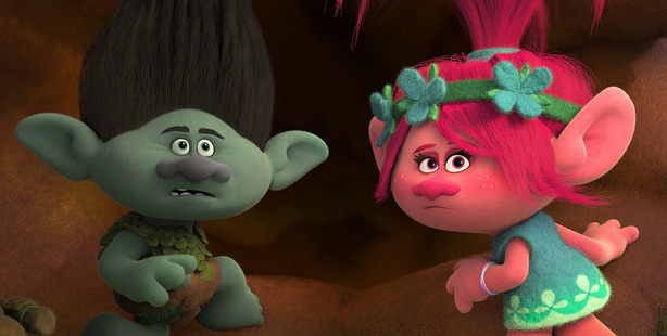 A scene from the animated film, Trolls.