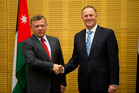 Prime Minister John Key with Jordan's King Abdullah II ahead of their bilateral talks at the Beehive today. Photo / Mark Mitchell