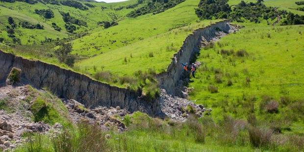 Faulting in the countryside around Waiau following this month's 7.8 Kaikoura Earthquake. Photo / Dr Kate Pedley