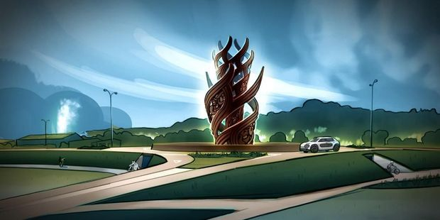 An artist's impression of the new sculpture set to go in on the new Hemo Gorge roundabout.