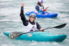TOP CLASS: Tauranga paddler Luuka Jones celebrates after winning at the Whitewater XL event at the Vector Wero Whitewater Park in Auckland. Photo: Jamie Troughton Dscribe Media