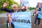 Roshan Nauhria campaigning for the Mt Roskill byelection. Photo / Jason Oxenham