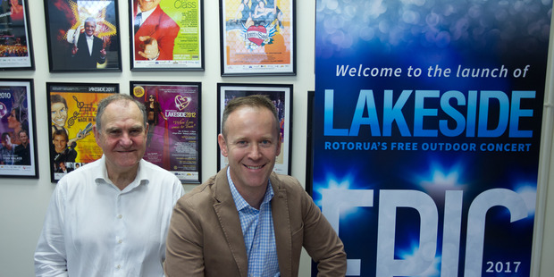Loading Lakeside 2017 artistic director Tim Beveridge (right) and Rotorua Lakeside Charitable Trust chairman Ian Edward announce the line up for this year's free concert.