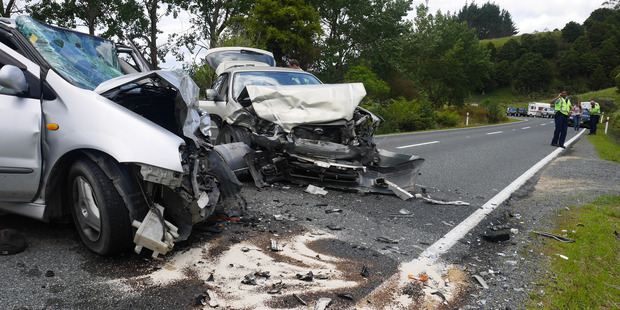 Two mangled cars are blocking a rural road north of Whangarei following a serious crash earlier this afternoon. PHOTO/ALEXANDRA NEWLOVE