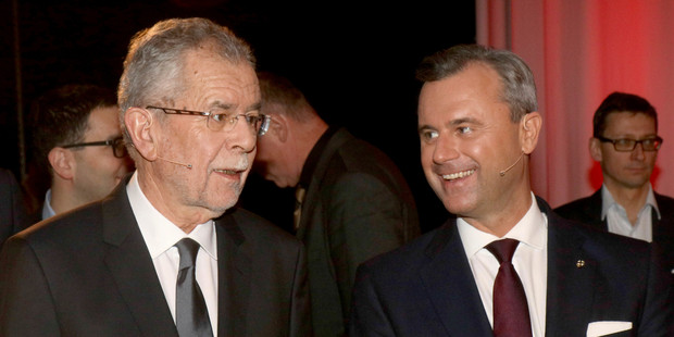 Alexander Van der Bellen, left, candidate for presidential elections of the Austrian Greens, and Norbert Hofer, candidate of Austria's right-wing Freedom Party, FPOE. Photo / AP