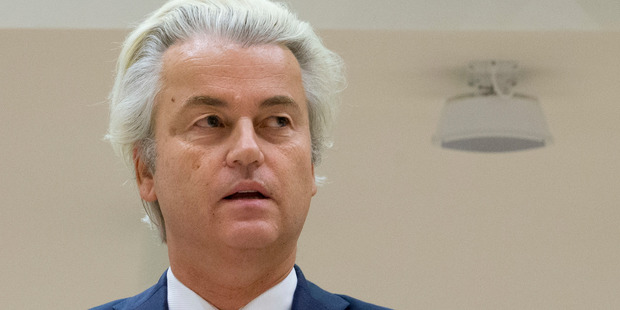 Populist anti-Islam politician Geert Wilders has been on trial for hate-speech but is on track for an election victory in The Netherlands. Photo / AP