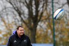 Coach Steve Hansen supervises a training session in Suresnes, outside Paris. Photo / AP