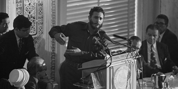 Fidel Castro addresses a National Press Club luncheon in Washington, D.C.. Photo / AP