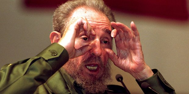 Cuba's leader Fidel Castro gestures at a speaking event in 1999. Photo / AP