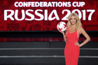 Victoria Lopyreva, model and envoy for 2018 World Cup, shows off the official ball during the draw for the soccer Confederations Cup 2017, in Kazan, Russia. Photo / AP.