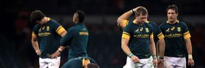 South Africa's players show their dejection at their defeat to Wales in the rugby international match between Wales and South Africa. Photo / AP.