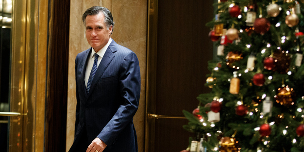 Loading Former Republican presidential nominee Mitt Romney arrives to talk with reporters after eating dinner with President-elect Donald Trump at Jean-Georges restaurant. Photo / AP