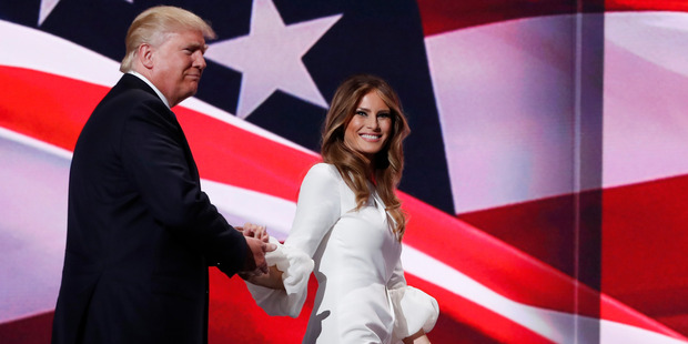 Donald Trump walks off stage with his wife Melania during the Republican National Convention. Photo / AP