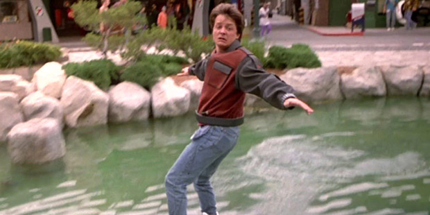 Michael J Fox rides a hoverboard in the movie Back To The Future. Photo / Supplied