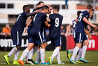 SC Sagamihara grabbed a 1-1 draw as Auckland City FC got through a bruising friendly game in Hodogoya today. Photo / Dean Purcell.