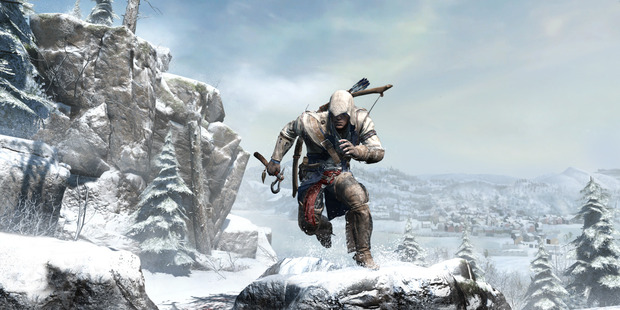 Game Assassins Creed III. New hero Connor makes his way through the icy wilds of the frontier. Photo / Supplied
