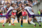 Solomone Kata of the Warriors looks to punch a hole in Melbourne's defence. Photo / Jason Oxenham