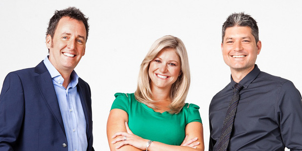 Jesse Mulligan with his former Seven Sharp colleagues Mike Hosking and Toni Street.