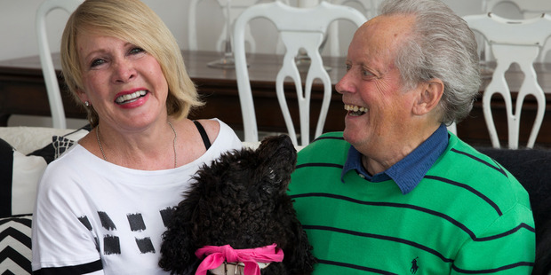 New Zealand entertainer Ray Columbus with wife Linda and their dog Fleur, pictured in their home at Snells Beach, north of Auckland in 2016. Photo / Brett Phibbs