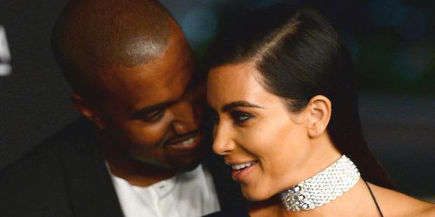 Kanye West with wife Kim Kardashian West. Photo / AP