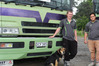 Dannevirke Carriers drivers Jack Ferrick, 20, left, and Wiremu Pinfold, 28 and Jack's dog Lass.