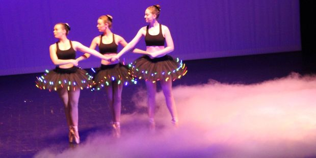 Morgan Kernaghan (left), Alexandra Kernaghan and Hannah Peters dancing in the Melissa Martin Academy of Dance end-of-year production.