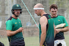 NET SESSION: William Young (left), Seth Rance and Ben Smith put in the hard yards at Nelson Park, Napier, this week. PHOTO/Paul Taylor