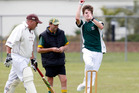 Maungakaramea batsman Todd Scudder gets ready to run as Kamo High School bowler Connor Bolton powers through his run-up. Photo/John Stone