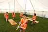 Secondary school students help get a marquee ready for the Whangarei  Summer Show. Photo / Michael Cunningham