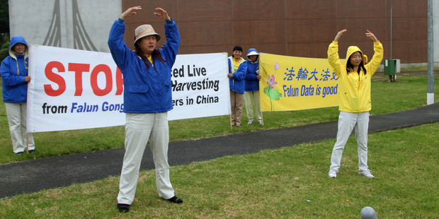 Friday's demonstration in Kaitaia, seeking support for a campaign to end organ harvesting in China.
