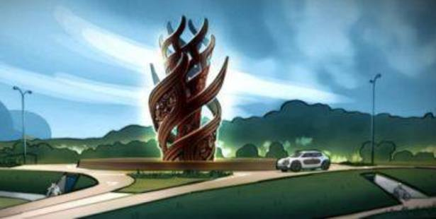 The proposed new 10m high sculpture by the New Zealand Maori Arts and Crafts Institute that will go on the new Hemo Gorge roundabout in July next year. DRAWING/ROTORUA LAKES COUNCIL