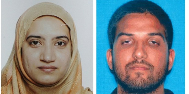 Photos of Tashfeen Malik, left, and Syed Rizwan Farook, who died in a shootout with police after they killed 14 and wounded 21 others in San Bernardino, Calif. Photo / AP