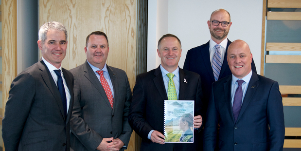 Left to right: Adrian Littlewood, Malcolm Johns, John Key, Grant Webster and Christopher Luxon.