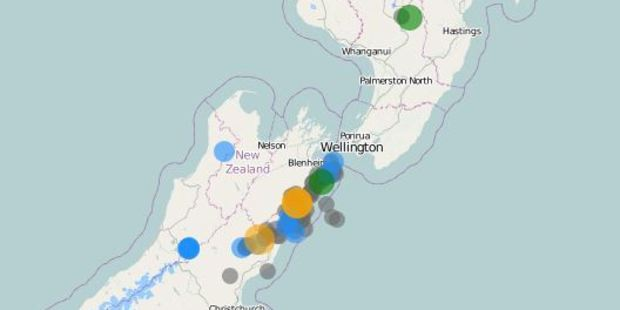 Loading Two weeks after the catastrophic 7.8 quake Kaikoura continues to be rocked by nasty late night tremors. Photo of recent aftershocks / GeoNet