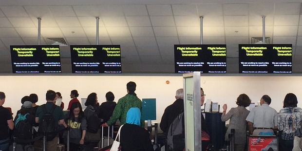 The outage has affected flight information, Eftpos and parking. Photo / Supplied via Luke Kelly
