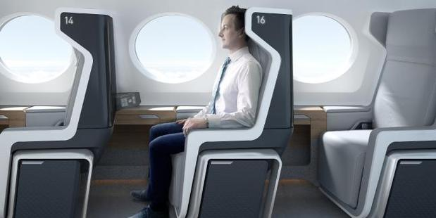 The passenger jet will have a single row of upright chairs on each side of the aircraft. Photo / Supplied