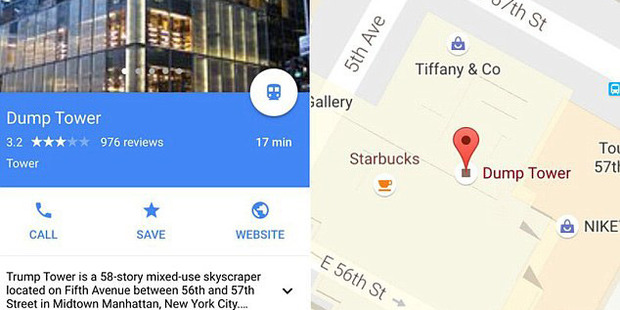 Trump Tower was renamed Dump Tower on Google maps. Photo / Google