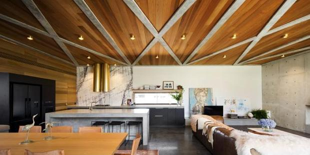 Things of stone and wood: Open plan living in Torquay. Supplied by Foxtel