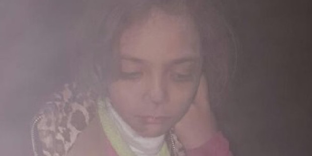 Bana Alabed, 7, after her house was bombed overnight. Picture: Twitter